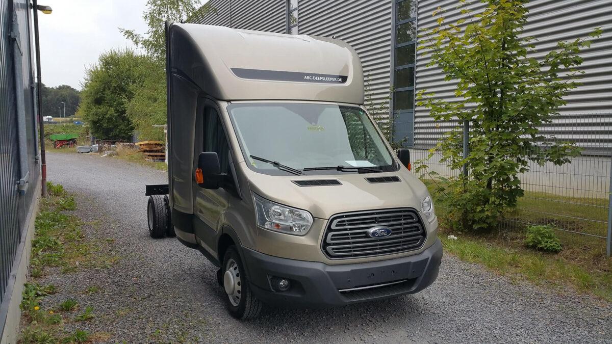 DEEPSLEEPER Fernfahrerhaus für Ford Transit 2014, Normalfahrerhaus B 2290 x H 730mm/Ü540 mm, mit Ablagetisch, Stauraum und 600mm Bett für abc aeroline