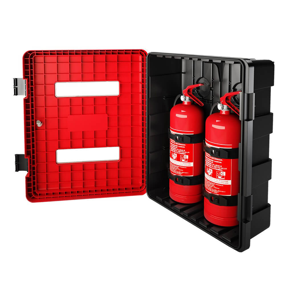 Feuerlöschkasten Dual für 2x 6-9kg Feuerlöscher, personalisierbar für abc aeroline