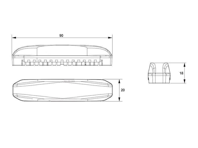 LED Warnblitzleuchte gelborange, im kompakten stablien Gehäuse, 12/24 volt, IP68 Series, ECE R65, VX1801, 19 programierbare Leuchtmuster für abc aeroline